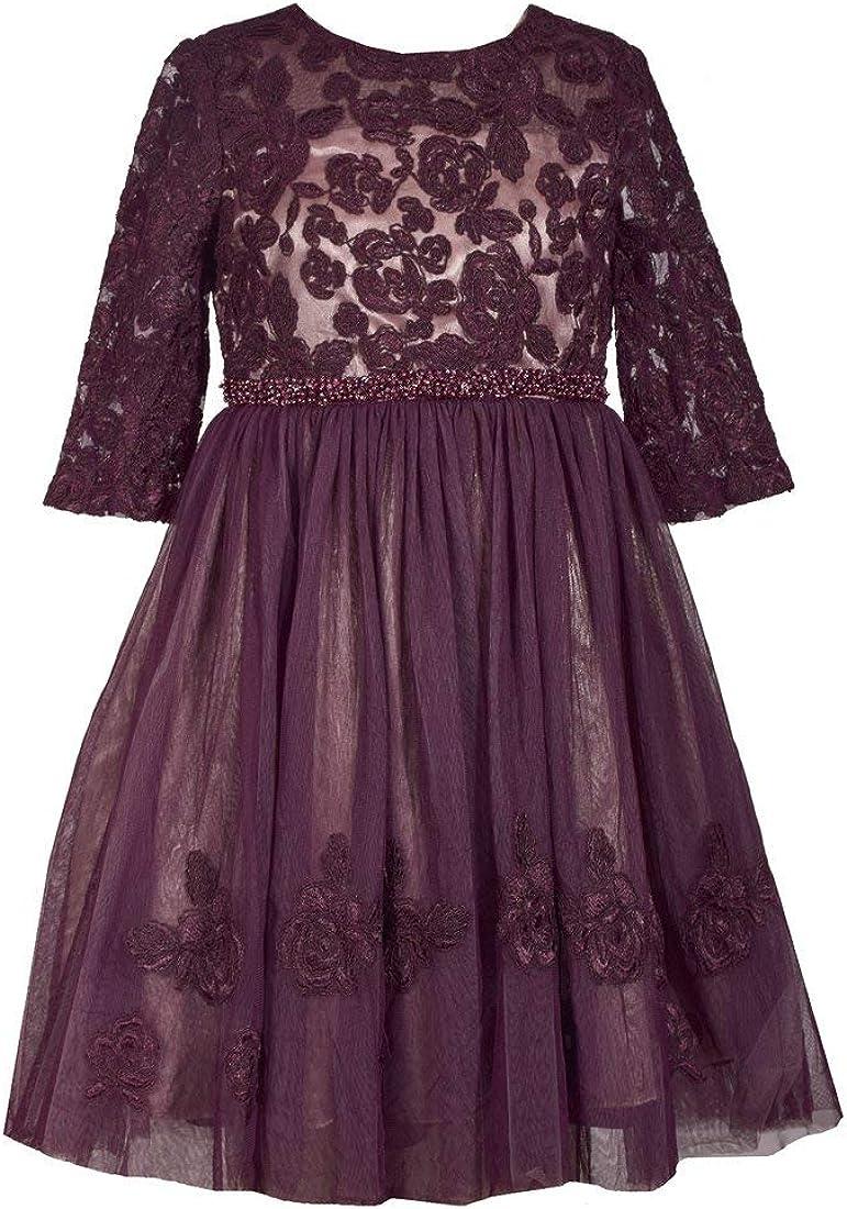 Bonnie Jean Big Girls 7-16  Cap Sleeve Beaded Waist Holiday Dress