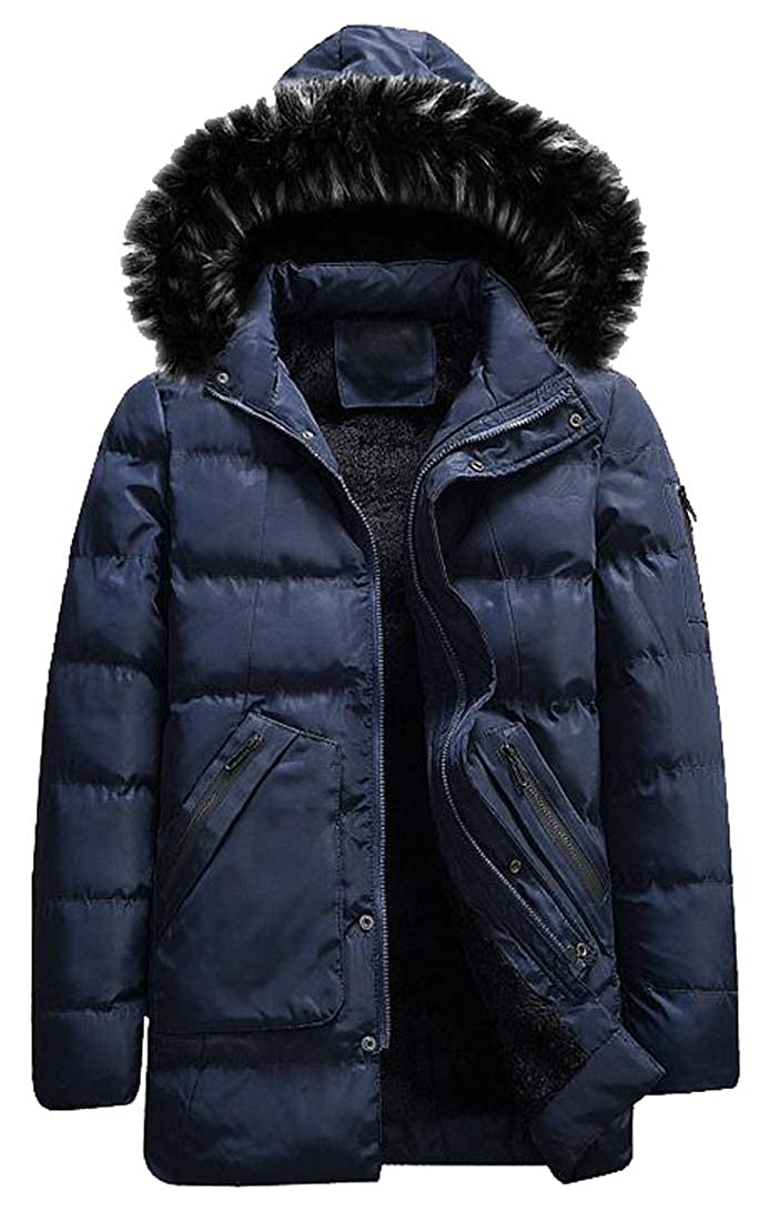 Jofemuho Mens Thick Winter Faux Fur Lined Faux Fur Hoodies Down Quilted Jacket Coat Outwear