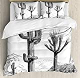 Cactus Duvet Cover Set King Size by Ambesonne, Sketchy Hand Drawn Print of Desert Plants with Mexican Travellers Ethnic Image, Decorative 3 Piece Bedding Set with 2 Pillow Shams, Charcoal Grey