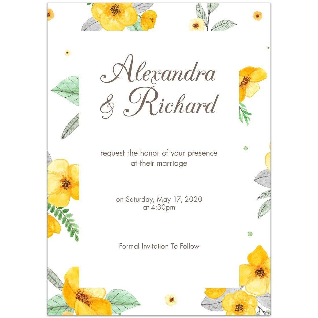 Amazon Com Yellow Flower Border Save The Date Wedding Invitations