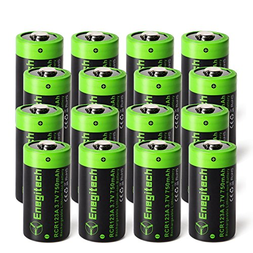 Cr123 Digital Camera Battery - Enegitech 16 Pack CR123A Rechargeable Batteries 3.7V 750mAh RCR123A 16340 Li-ion Battery for Arlo Cameras, Flashlight, Security System
