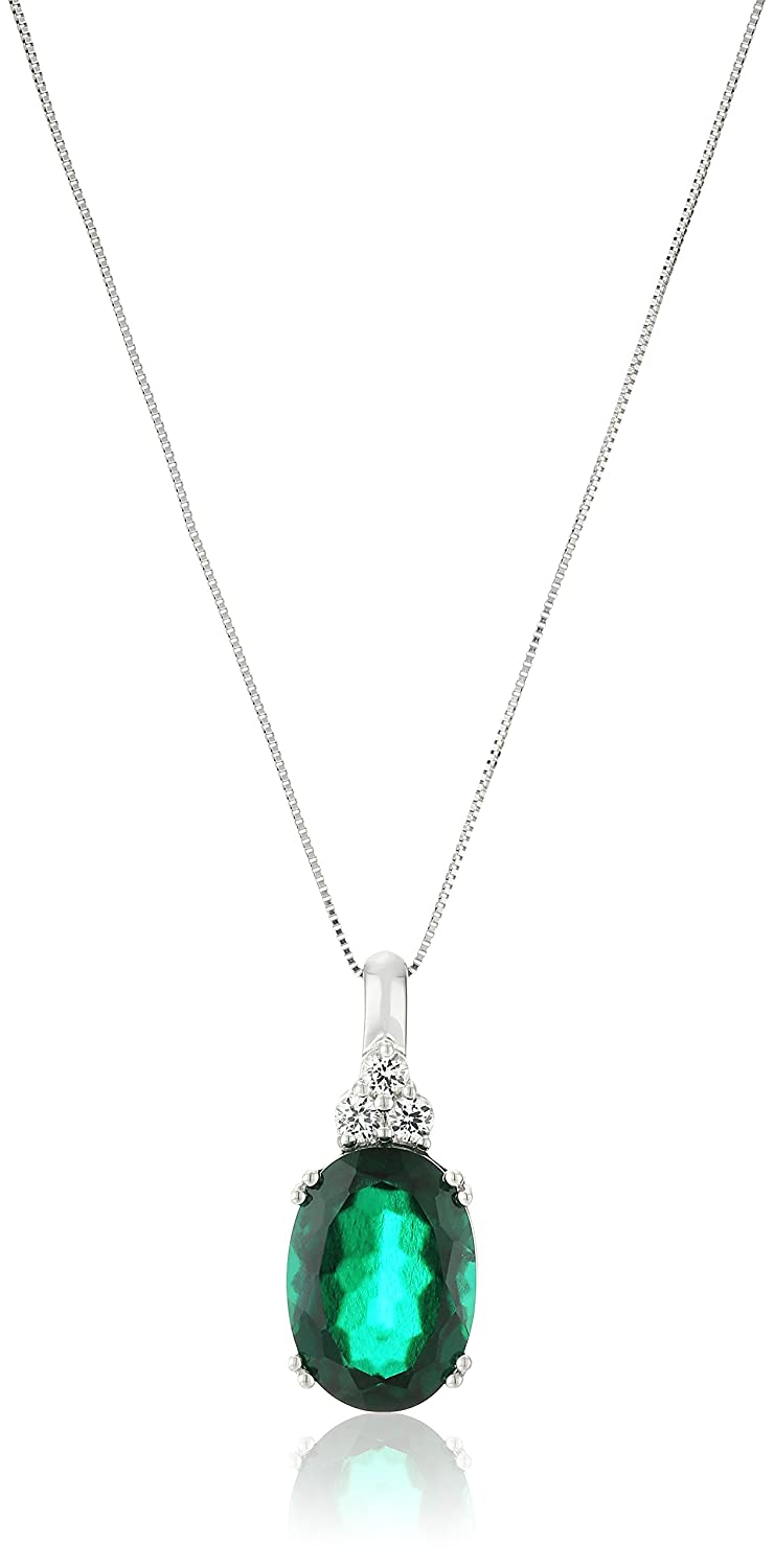 10k White Gold and Oval Created Emerald Pendant Necklace, 18