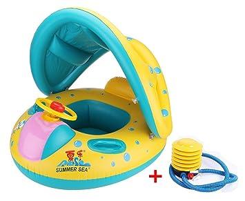 Vercrown Flotador para Bebé con Asiento y Techo Juguete de Piscina de Desarrollo de Nata Natación en Agua con sombrilla y Bomba: Amazon.es: Juguetes y ...