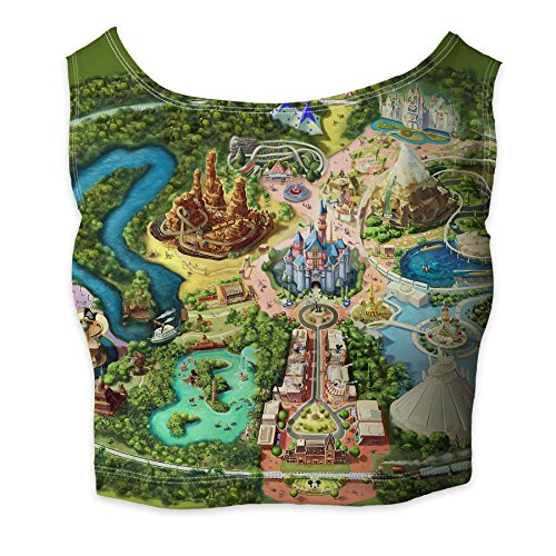 Disneyland Colorful Map Ladies Crop Top XS - 3XL