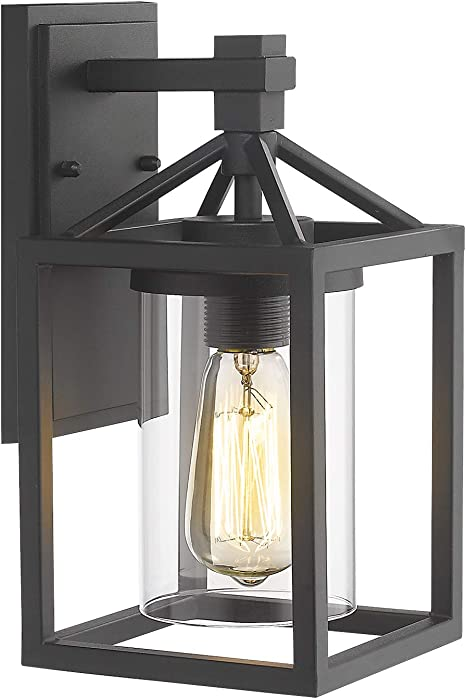 Zeyu Outdoor Wall Sconce Exterior Wall Lantern Light Fixture For Front Door Patio Black Finish With Clear Glass Shade Zy03 W Bk Amazon Com