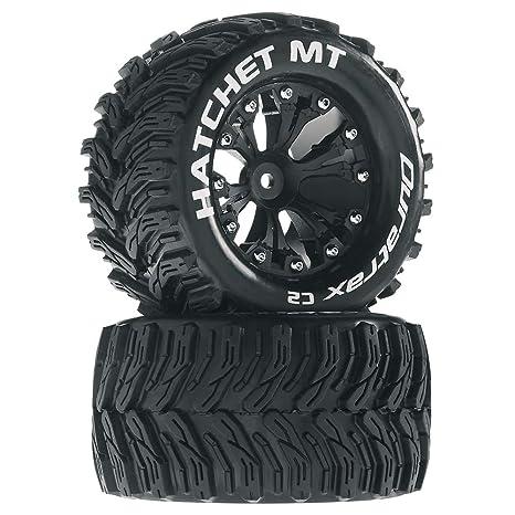 Hatchet MT 2 8 1/10 RC Monster Truck Tires with Foam Inserts: C2 Soft,  Mounted, 6-Spoke Rear Wheels, Black, Set of 2