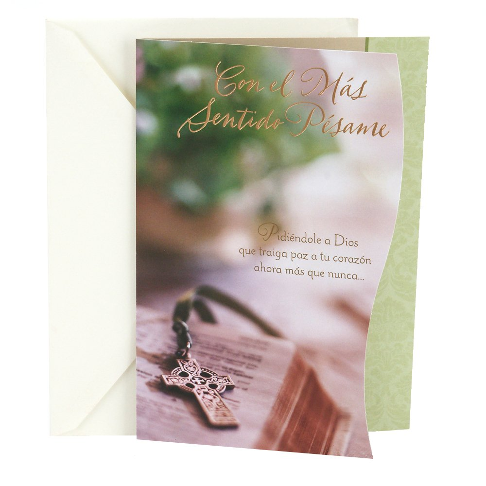 Amazon.com : Hallmark Vida Spanish Religious Sympathy Greeting Card (Cross on Bible) : Office Products