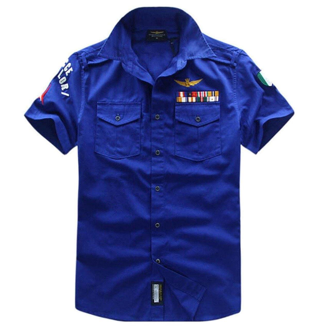 xiaohuobanMen xiaohuoban Mens Slim Fitted Army Short Sleeve Fashion Button Up Shirts Dress Shirt