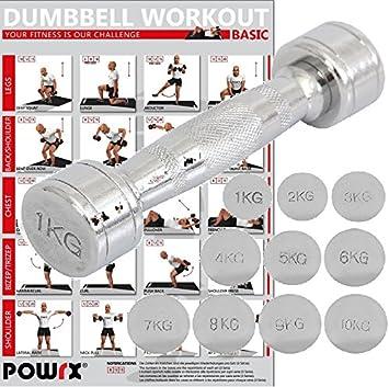 POWRX- Mancuerna cromada 1 kg - ideal para intensificar la FUERZA muscular -: Amazon.es: Deportes y aire libre