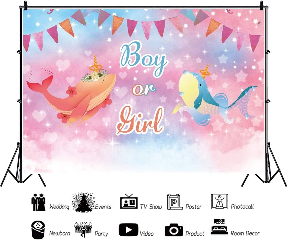 YongFoto 12x8ft Boy Or Girl Gender Reveal Photography Background Watercolor Pinkish Baby Shower Backdrop Red Blue Whale Colorful Garland Dreamy Shiny Stars and Hearts Baby Shower Party Decor Banner