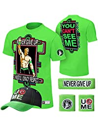 WWE Superstar Cotton Short Sleeved T-shirt , Cap , Sweatbands strong Wristbands 5/2 Piece Set Wrist RAW for Kids ,MEN