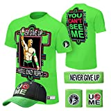 (US) WWE John Cena T-shirt , Cap , Sweatbands strong Wristbands 5 Piece Set Wrist RAW (S, GREEN)