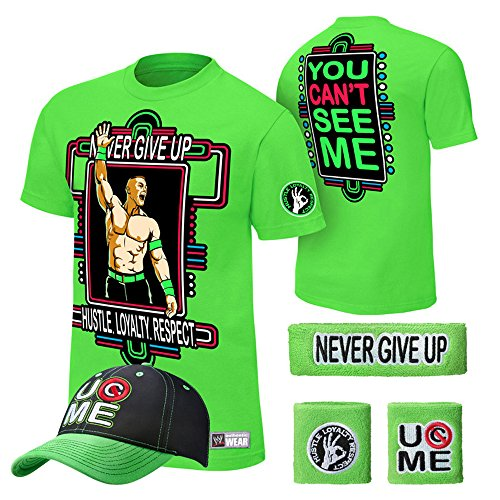WWE John Cena T-shirt , Cap , Sweatbands strong Wristbands 5 Piece Set Wrist RAW