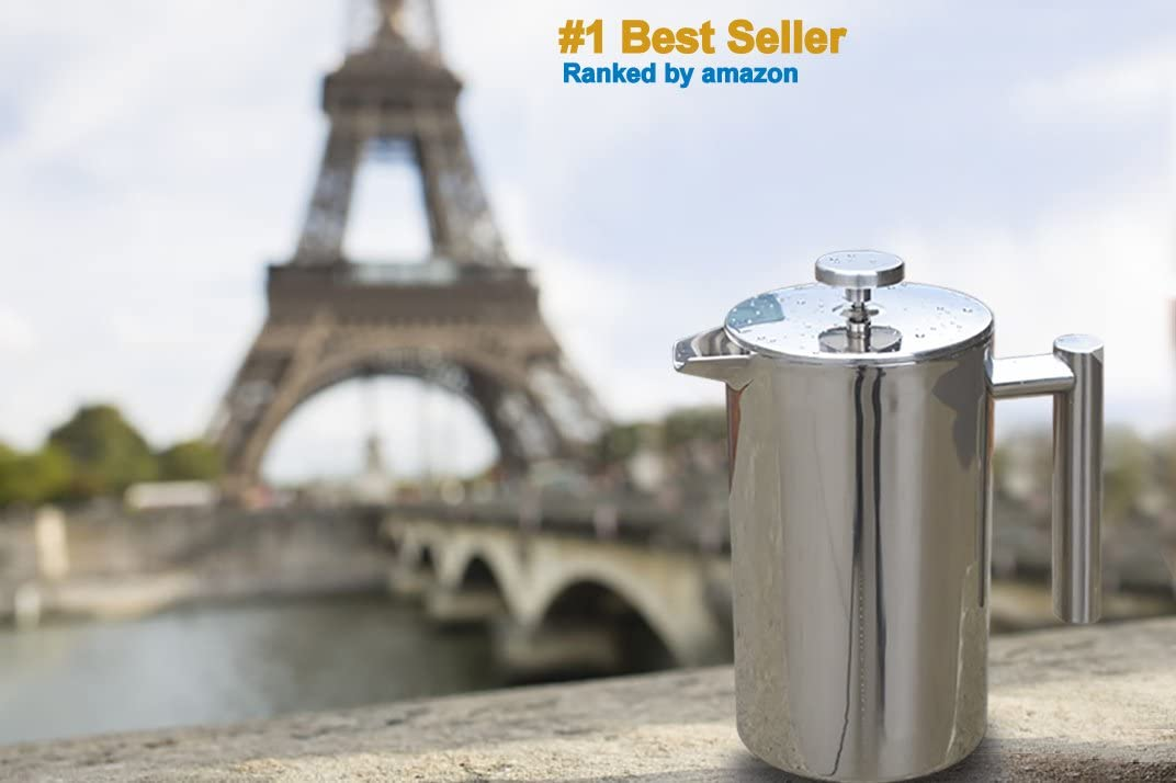 French Press Double-Wall Stainless Steel Mirror Finish 1L Coffee Tea Maker Double-Screen System 100 No Coffee Grounds Guarantee, 18 10 Stainless Steel, Rust-Free, Dishwasher Safe, 2 Bonus Screen