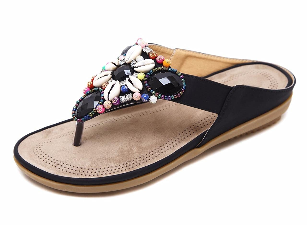 Women's Black Beaded Rhinestone Cowrie Seashell Flat Flip-Flop Sandals - DeluxeAdultCostumes.com
