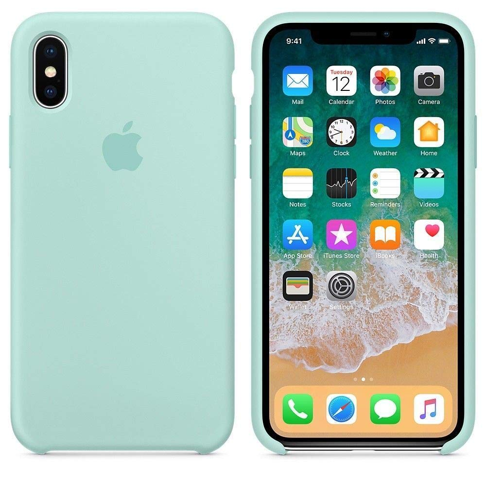 premium selection ad048 98ced iPhone X Silicone Case, Liquid Silicone Gel Rubber Shockproof Case and  Ultra Soft Microfiber Cloth Lining Cushion for Apple iPhone X/10 (Marine  Green)