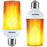 Texsens LED Flame Effect Light Bulbs - 4 Modes LED Flickering Fire Flame with Upside-Down Effect, Simulated Decorative Lights