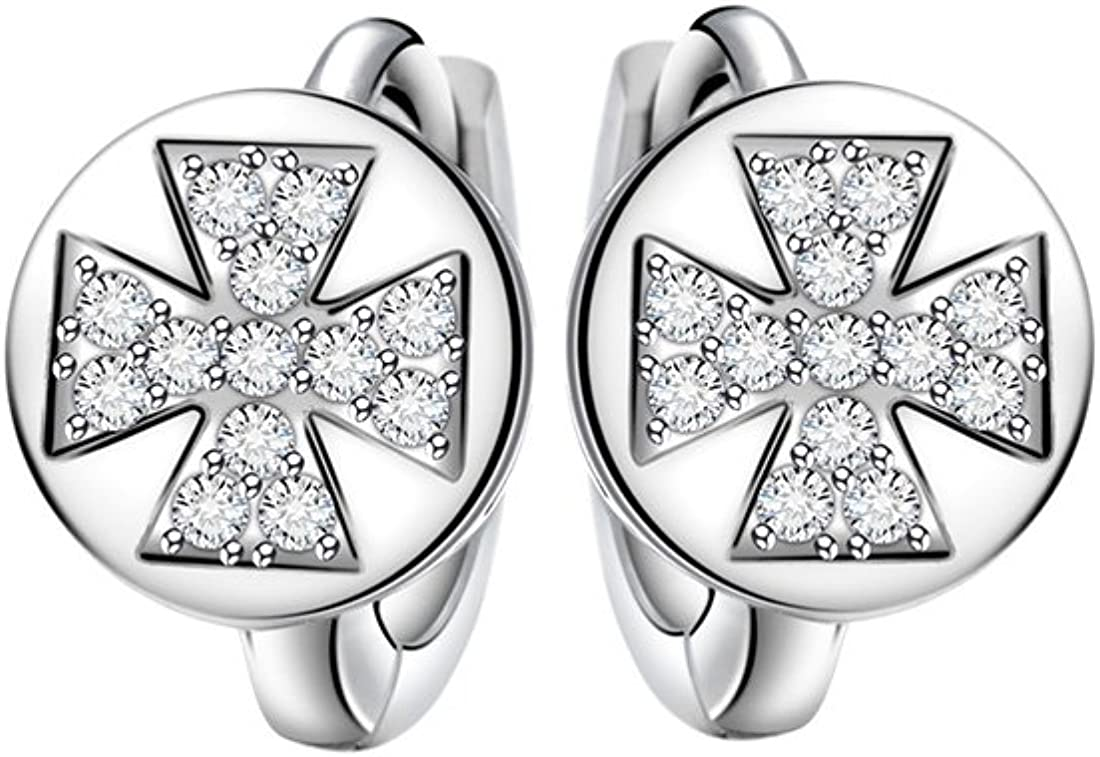 T400joyeros de la mujer moda 925plata Lujo Cruz pendientes de aro blanco 0,31pulgadas