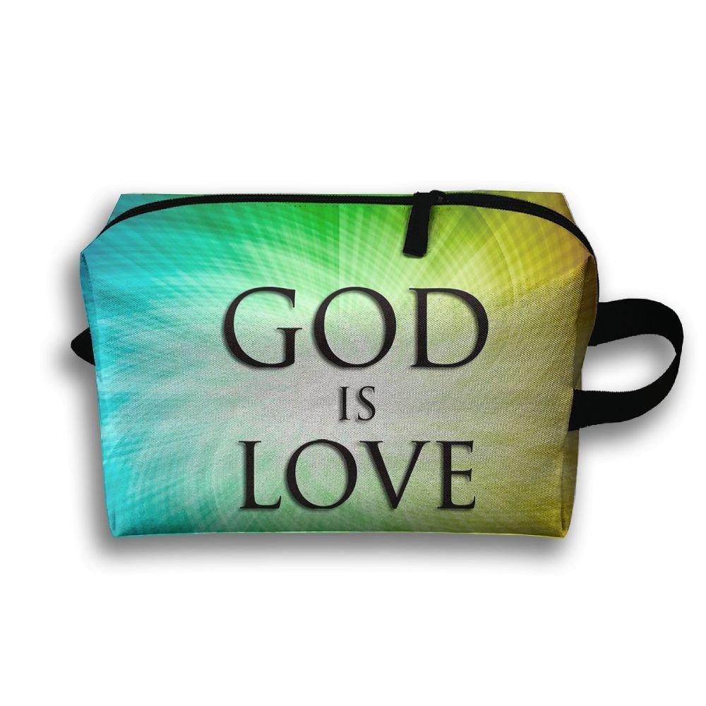 God Is Love Art Cosmetic Bags Makeup Organizer Bag Pouch Zipper Purse Handbag Clutch Bag