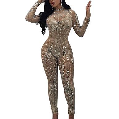 c3ddfd17f76 KUTLIF Women s Long Sleeve Sheer Mesh Giltter Rhinestone Sequin Jumpsuit  Bodysuit  Amazon.co.uk  Clothing