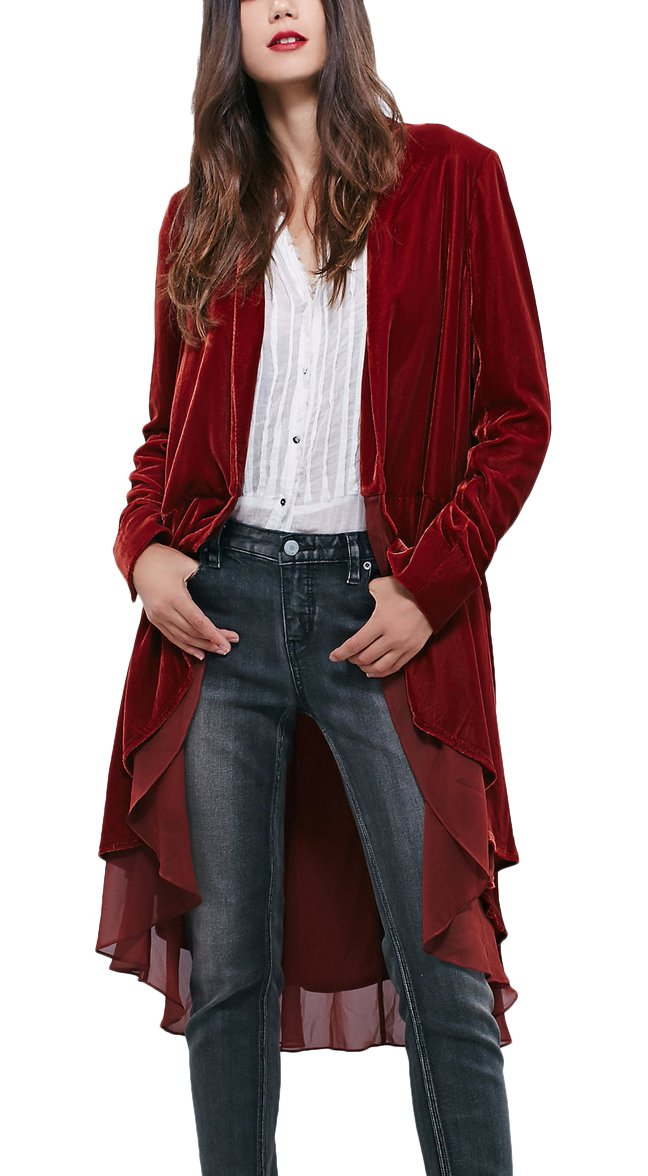 Urban CoCo Women's Long Sleeve Velvet Cardigan Coat with Asymmetric Chiffon Hem(L, Wine red)