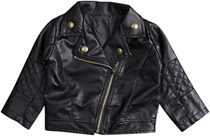Kids Girls Jackets Motorcycle Leather Wind Coat Long Outerwear Outdoor Casual PU