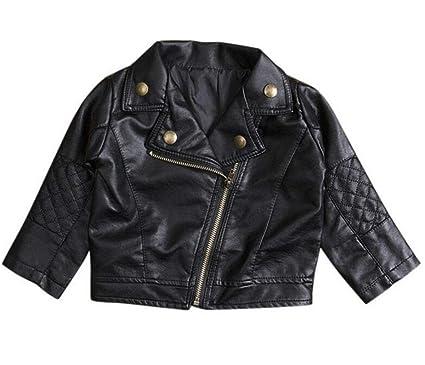 83ed58673 UNIQUEONE Baby Boys Girls Kids Outfits Spring Autumn PU Faux Leather Lapel  Jacket Oblique Zipper Outerwear
