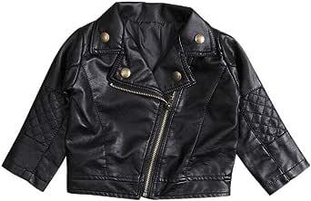 Baby Boys Girls Kids Outfits Spring Autumn PU Faux Leather Lapel Jacket Oblique Zipper Outerwear Coat
