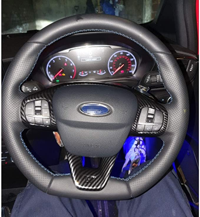 Qqklp Fit Für Ford Fiesta Mk8 2017 2018 Zubehör Abs Carbon Faser Stlye St Auto Lenkrad Ordnungs Steuertastenfeld Abdeckung Styling Auto