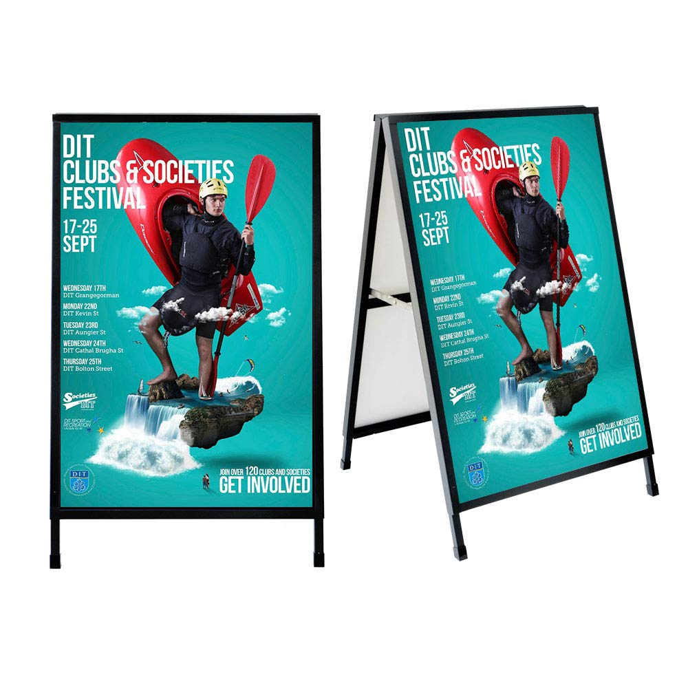 GUOHONG Folding A-Frame Sidewalk Curb Sign Double-Sided Display with Two Corrugated Plastic Slide-in Poster Boards for Outdoor Advertisement - Black Coated Steel Metal markerboards (24'' x 36'' inch) by GUOHONG