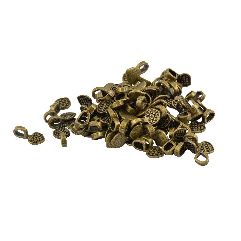 MonkeyJack 100pcs Glue on Bails For Pendants Heart Shape Charms Beads Jewlery Making