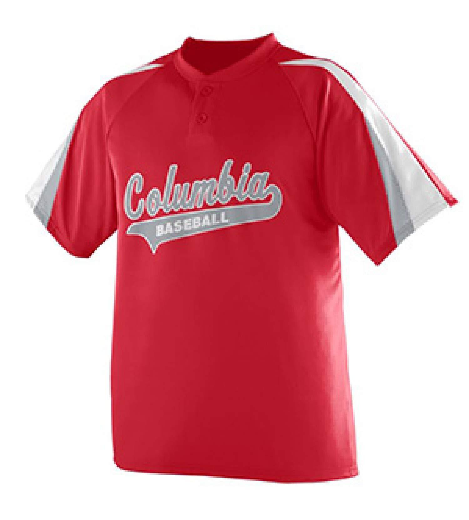 Augusta Sportswear MEN'S POWER PLUS BASEBALL JERSEY XL Red/White/Silver Grey by Augusta Sportswear