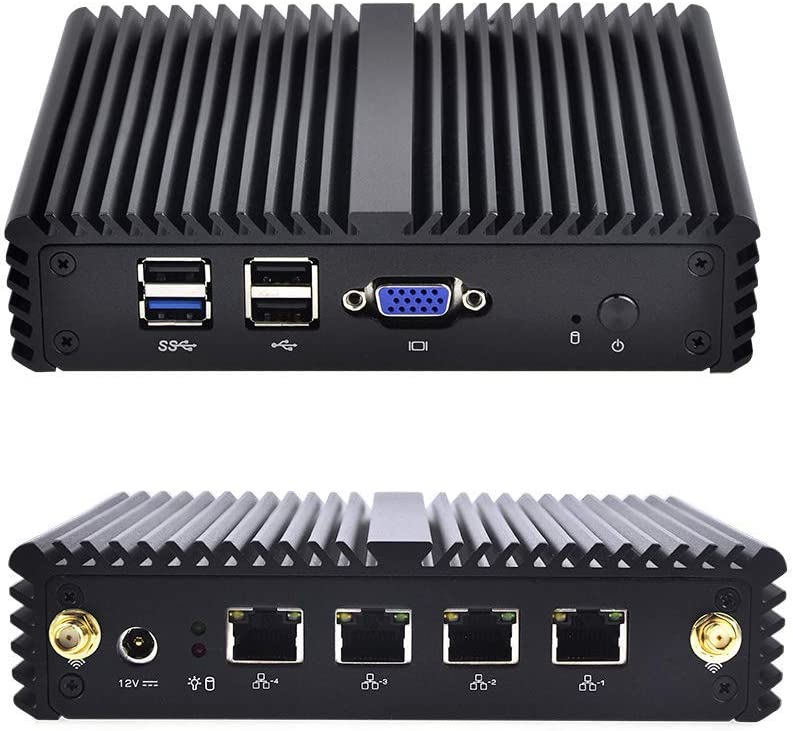 Barebone 4 LAN J1900 Router Qotom-Q190G4N-S07,Intel Celeron Processor J1900,VGA,4USB, Apply to Router, Firewall, Proxy, Linux Mini PC OPNsense