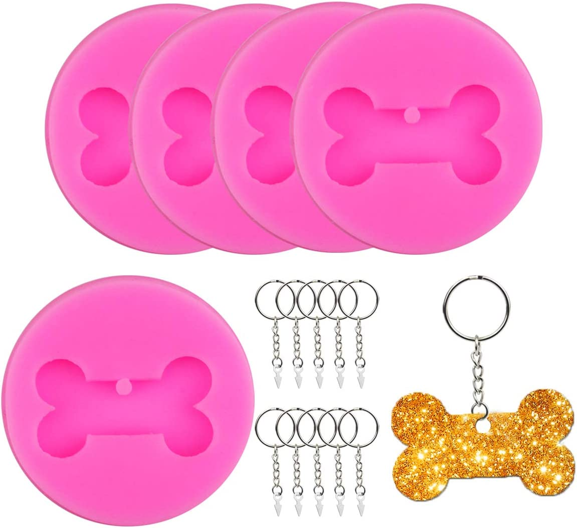 Chistepper 5 Pieces Dog Bone Silicone Molds Fondant Molds Dog Bone Shaped Keychain Resin Molds with 10 Pieces Key Rings for DIY Keychain Making Resin Crafting