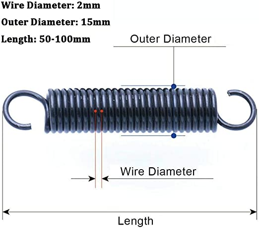 Farbe : 2pcs, Gr/ö/ße : 2.5x14x305mm NO LOGO W-NUANJUN-Spring mm Durchmesser Out * 305mm L/änge 2,5 mm Drahtdurchmesser * 2ST Verschiedene Arten Schwarz 2,5 mm Lange Druckfedern 14-25