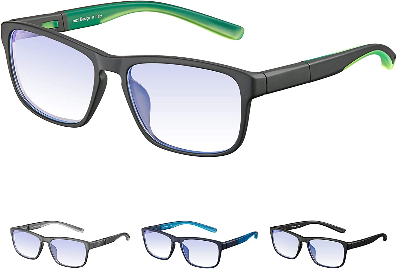 Rezi Gafas Premium con Armazón TR90 para Protección contra Luz Azul, Anti Fatiga por Deslumbramiento