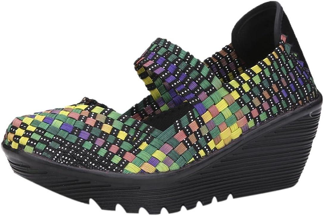 Zapatos para Mujer Otoño 2018 Zapatillas de Cuña Dama de Plataforma PAOLIAN Casual Merceditas Cómodo Calzado de Señora de Moda Breathable Zapatillas de Vestir