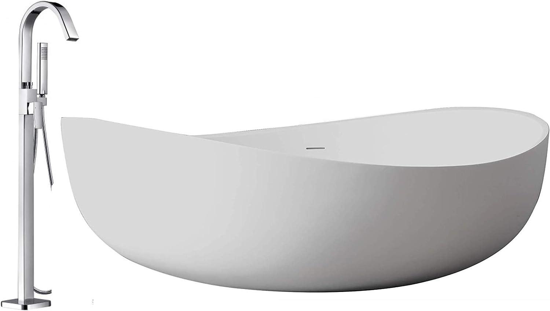 Standarmatur:Ohne Standarmatur Freistehende Badewanne WAVE Acryl Wei/ß 180 x 110 x 62 cm Siphon Siphon:Inkl Standarmatur w/ählbar