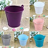 AerWo® Mini Metal Bucket Tin Candy Box Buckets Souvenirs Gift Pails for Bridal Wedding Party Baby Showers (White, 50pcs)