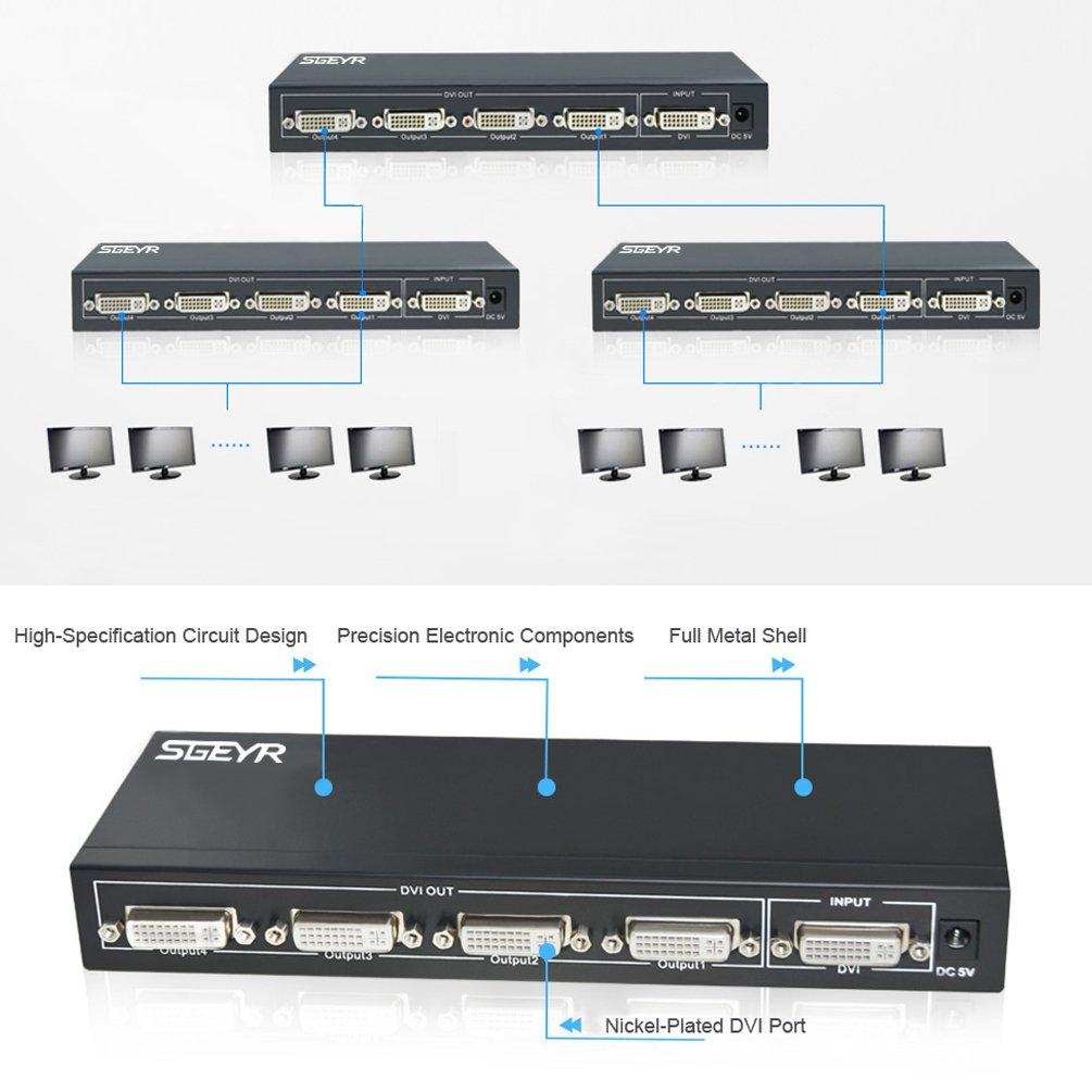 sgeyr 4 puerto DVI divisor 1 entrada 4 salida divisor soporte resoluci/ón de hasta 1920 x 1080 DVI divisor de v/ídeo 1 x 4 con fuente de alimentaci/ón