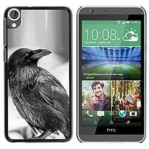 HTC Desire 820 , JackGot - Impreso colorido protector duro espalda Funda piel de Shell (Raven B&W)