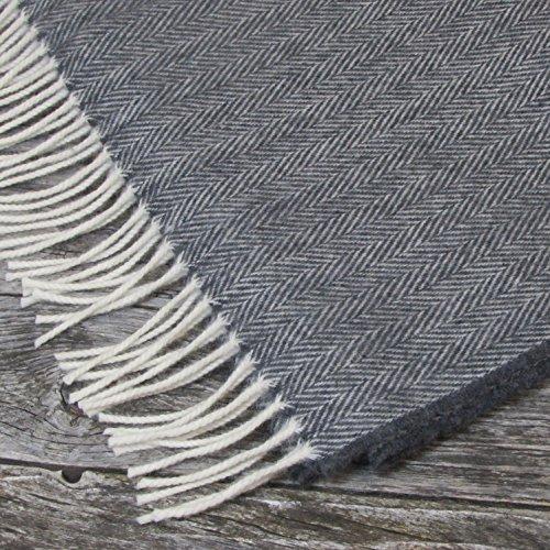"""Irish Merino Cashmere Ladies Wool Pashmina Shawl Wrap 19.5"""" x 80"""" (Dark Grey Herringbone)"""