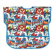 Bumkins Baby Toddler Bib, DC Comics Waterproof Junior Bib, Superman Comic (1-3 Years)