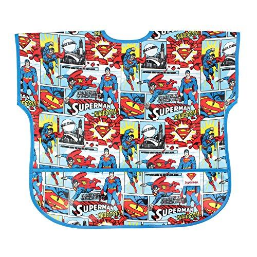 Bumkins DC Comics Superman Junior Bib / Short Sleeve Toddler Bib / Smock 1-3 Years, Waterproof, Washable, Stain and Odor Resistant – Comic