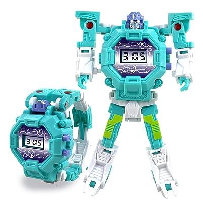 2 En 1 Robot Reloj Transformador De Relojes Reloj Digital Eléctrico Creativo Educaional Juguetes Manual Deformación Robot Regalo para Niños: Hogar