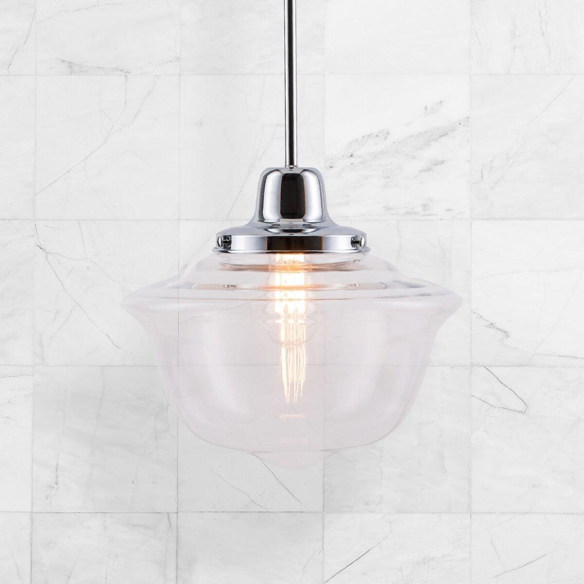Lavagna LED Schoolhouse Pendant - Chrome w/Clear Glass Shade - Linea di Liara LL-P272-PC by Linea di Liara (Image #4)