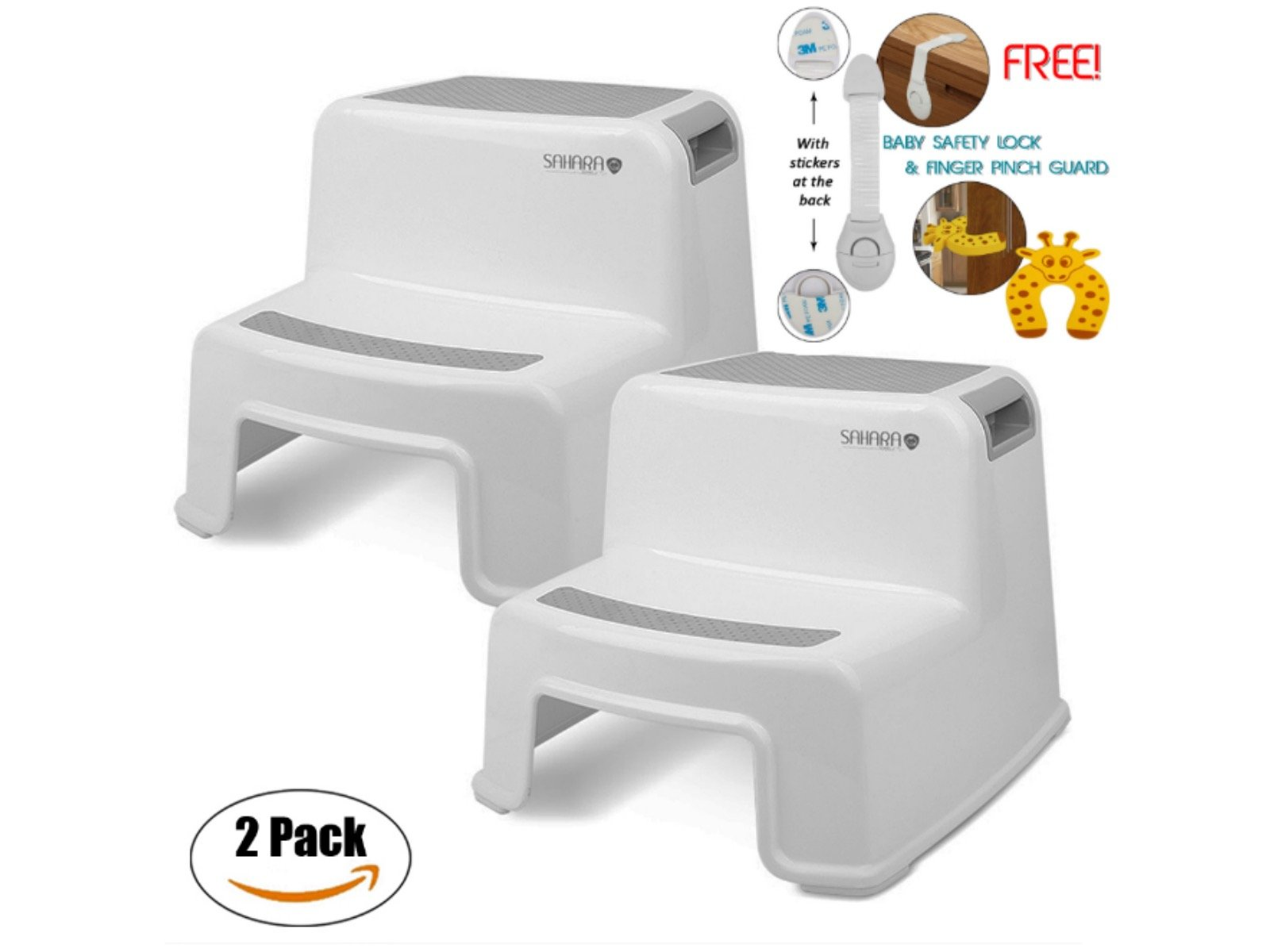 Kids Step Stool By Sahara Baby: Dual Height Step Stool for Toddlers, Anti-Slip Rubber For Safety, Suitable For Kitchen or Potty Training in Bathroom With Door Pinch & Safety Lock Accessories (2 pack)