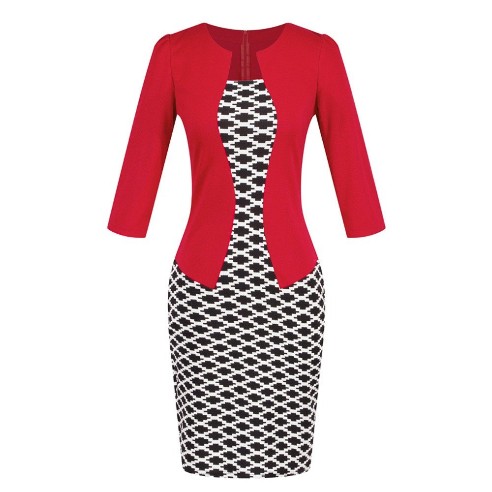 Birdfly Office Women's Plaid Patchwork Pencil Skirts Formal Working Dress with Three Quarter Sleeve.Plus Size 2L 3L (2XL, Red(93))