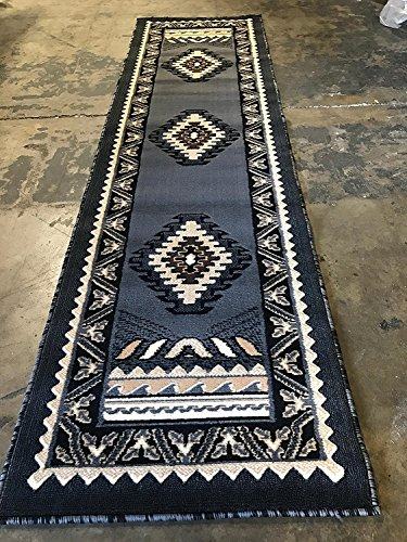 Southwest Native American Indian Kingdom Runner Rug Grey & Black D143 (2 Feet X 7 - Tribal Rug Runner