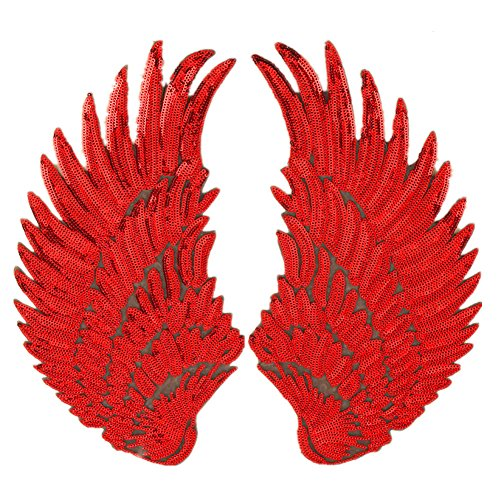 Large Angel Wings Sequin Patches Iron on Sew on Appliques Embroidered Motif for DIY Clothes (Red) -
